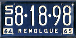 Sonora Mexico License Plate Placa commercial trailer remolque publico
