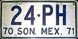 Sonora Mexico License Plate Placa trailer remolque