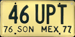 Sonora Mexico License Plate Placa taxi publico