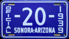 Sonora/Arizona Official Mexico License Plates Placas