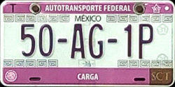 2017 SPF Autotransporte Federal Mexico License Plate Placa