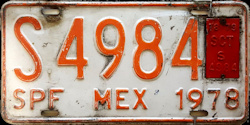 SPF Mexico License Plate Placa bus autobus