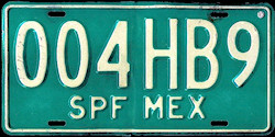SPF Mexico License Plate Placa border bus pasaje