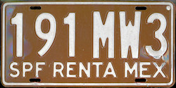 SPF Mexico License Plate Placa rental renta