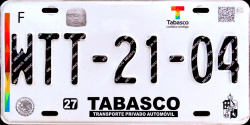 2017 Tabasco Mexico License Plate Placa