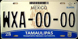 Tamaulipas Mexico License Plate Placa prototype prototipo
