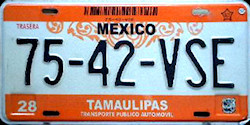 Tamaulipas Mexico License Plate Placa taxi publico