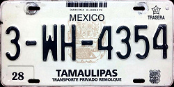 Tamaulipas Mexico License Plate Placa trailer remolque