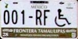 Tamaulipas Mexico License Plate Placa Fronteriza handicapped discapacitados