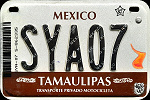 Tamaulipas Mexico License Plate Placa motorcycle motocicleta