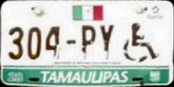 Tamaulipas Mexico License Plate Placa handicapped discapacitados