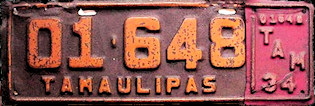 Tamaulipas Mexico License Plate Placa commercial publico