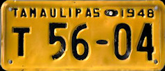 Tamaulipas Mexico License Plate Placa