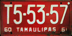 Tamaulipas Mexico License Plate Placa commercial truck camion publico
