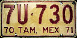 Tamaulipas Mexico License Plate Placa commercial bus autobus publico