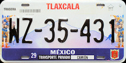 Tlaxcala Mexico License Plate Placa truck camion