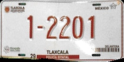 Tlaxcala Mexico License Plate Placa state police policia estatal