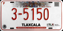 Tlaxcala Mexico License Plate Placa municipal police policia municipal