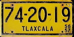 Tlaxcala Mexico License Plate Placa commercial bus autobus taxi publico