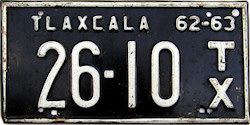 Tlaxcala Mexico License Plate Placa