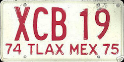 Tlaxcala Mexico License Plate Placa commercial truck camion publico