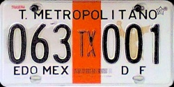 TEXCOCO Transporte Metropolitano Mexico License Plate Placa Edo Mexico DF Distrito Federal CDMX Ciudad Mexico