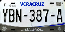 2017 Veracruz Mexico License Plate Placa