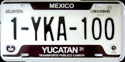 Yucatan Mexico License Plate placa commercial truck camion publico