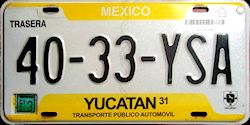 Yucatan Mexico License Plate placa taxi publico