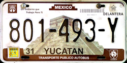 Yucatan Mexico License Plate placa commercial bus autobus publico
