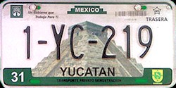 Yucatan Mexico License Plate placa dealer demostracion