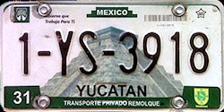 Yucatan Mexico License Plate placa trailer remolque