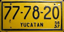 Yucatan Mexico License Plate placa commercial bus autobus taxi publico