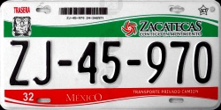 Zacatecas Mexico License Plate Placa truck camion