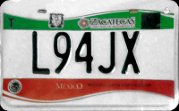 2017 Zacarecas Mexico License Plate Placa motorcycle motocicleta