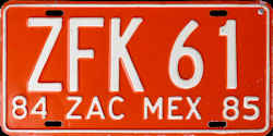 Zacatecas Mexico License Plate Placa commercial truck camion publico